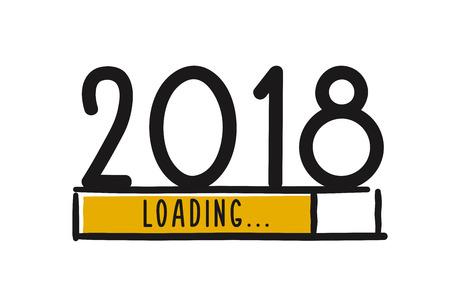 Doodle la schermata di caricamento del nuovo anno. Barra di avanzamento che raggiunge quasi il capodanno. Illustrazione vettoriale Vettoriali