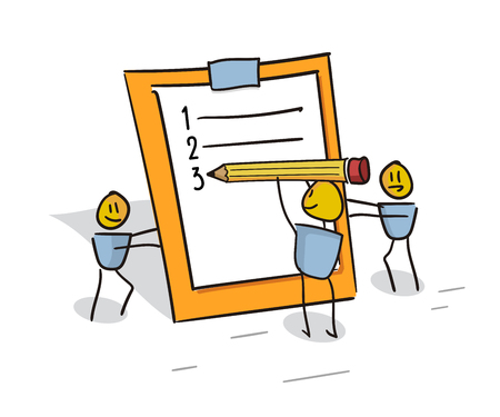 Happy little characters working as a team filling the to do list planner. Doodle illustration for business and other concepts related with efficiency, team work and organization 일러스트