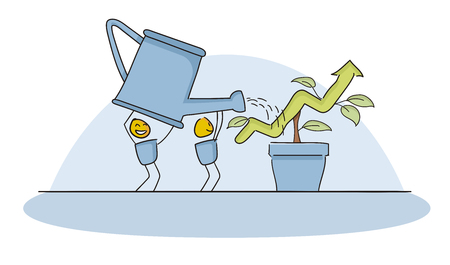 Little happy character watering growing progress bar. Concept for teamwork, beeing smart and innovative, investing long term. Vector file eps10 Illustration