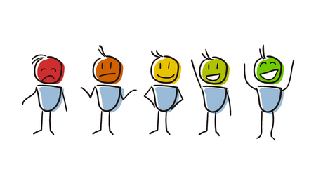 Set of characters conceptualizing Survey Assessment Analysis Feedback Appraisal with different feelings and colors. Vector file eps10