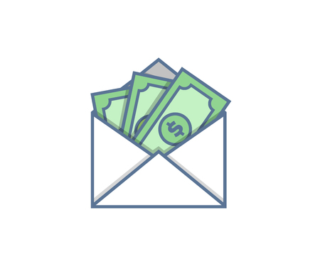Email envelope delivery with cash vector icon trendy illustration Çizim