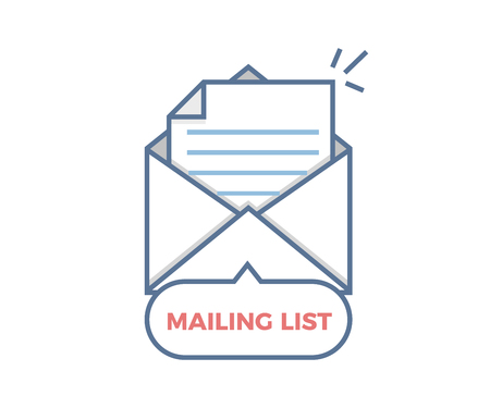 Mailing list vector icon opened envelope with paper coming out