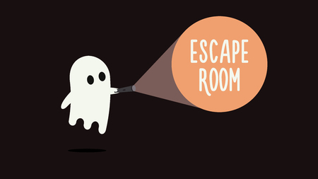 Escape room games background concept with ghost and flashlight vector illustration