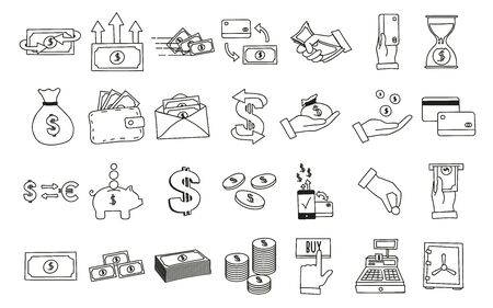 Set of hand drawn money related icons vector illustrations with money, finance, and commerce subjects. Vectores