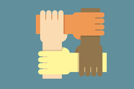 Diseño de fondo con manos de personas de diferentes etnias juntas como una ilustración vectorial para conceptos de comunidad, igualdad de derechos, comunidad, trabajo de caridad y éxito en trabajo en equipo