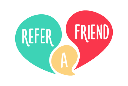 Doodle speech bubbles with refer a friend message vector hand drawn icon design
