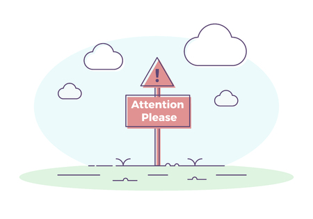 Signboard with exclamation mark and attention please quote vector illustration design  イラスト・ベクター素材