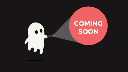 Cute ghost with his flashlight pointing towards a message for new product or movie coming soon vector illustration concept
