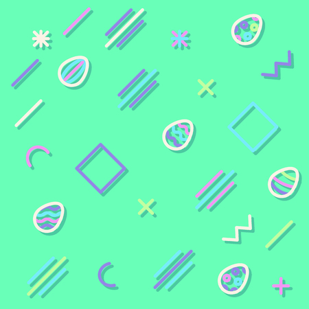 Geometric cheerful pattern with Easter eggs. Memphis 80s and 90s graphic trendy style. Background with different geometric shapes Illustration