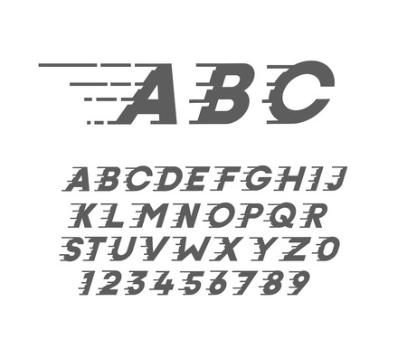 Custom font in italic style with motion elements. Speed highly customized alphabet. Vector typography.