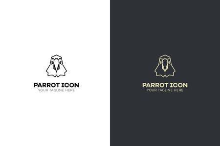 Stylized geometric Parrot head illustration. Vector icon tribal bird design