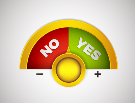 Yes or No choice meter with yellow button. Vector concept illustration with red and green yes or no choices.