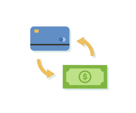 Payment using credit or debit card icon. Vector design related with money and finance