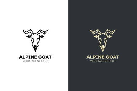 Stylized geometric Goat head illustration. Vector icon design Иллюстрация