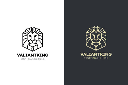 Stylized geometric Lion head illustration. Vector icon tribal design Ilustração