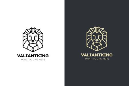 Stylized geometric Lion head illustration. Vector icon tribal design Ilustração