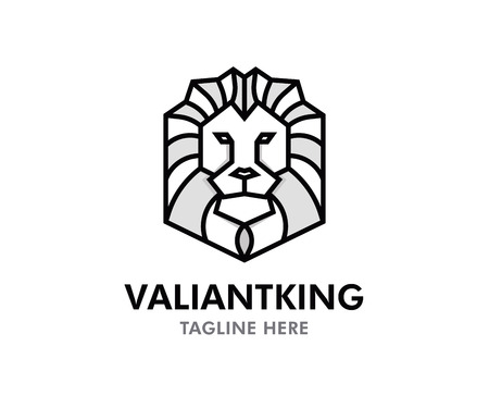 Valiant King Lion vector logo. Editable design with lion symbol in tribal geometric style and text Ilustração