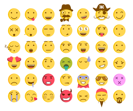 Set of 42 emoticon smileys. Vector emoji facial expression icons
