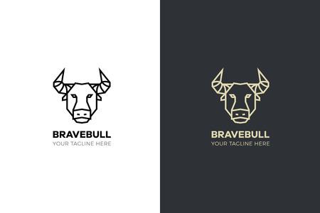 Stylized geometric Bull head illustration. Vector icon tribal design