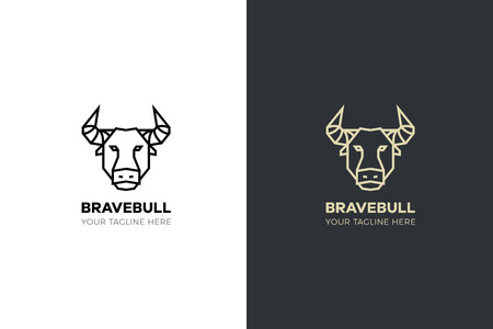 Stylized geometric Bull head illustration. Vector icon tribal design