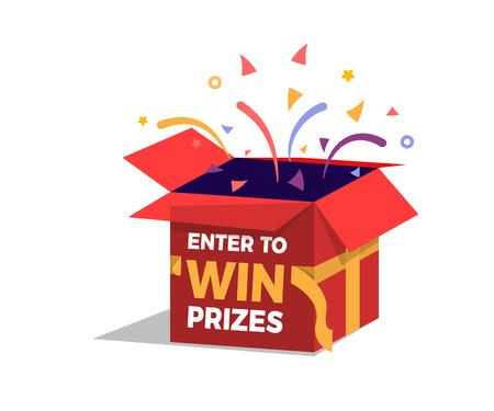 Ouverture et explosion de la boîte de prix avec des feux d'artifice et des confettis. Participez pour gagner des prix design. Illustration vectorielle