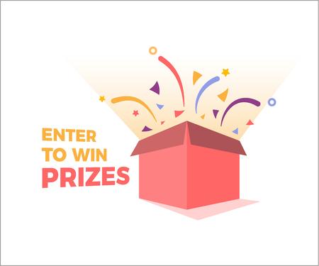 Die Preisbox öffnet sich und explodiert mit Feuerwerk und Konfetti. Geben Sie ein, um Preise Design zu gewinnen. Vektor-illustration Vektorgrafik