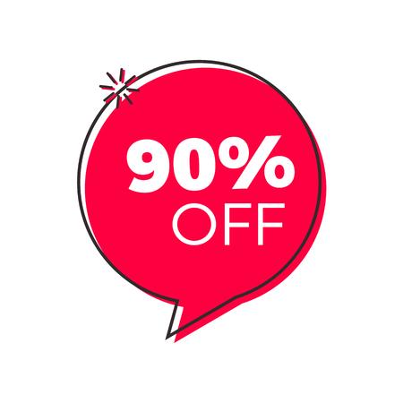 Offerta speciale bolla geometrica rossa alla moda. Vector design retrò tag rosso moderno. Etichetta con prezzi scontati, simbolo con adesivo sconto del 90%.