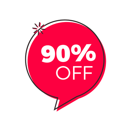 Special offer red geometric trendy bubble. Vector modern retro red tag design. Discount offer price label, symbol with 90% OFF sale sticker.