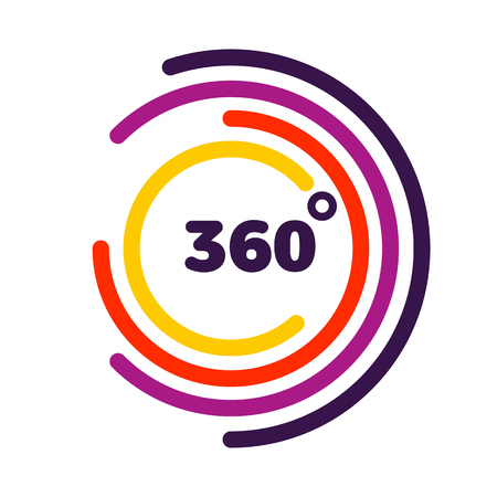 360 degrees view Related Vector graphic, Modern style with colorful circle lines