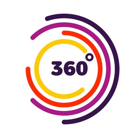 Visualizzazione a 360 gradi Grafica vettoriale correlata, stile moderno con linee colorate a cerchio Vettoriali