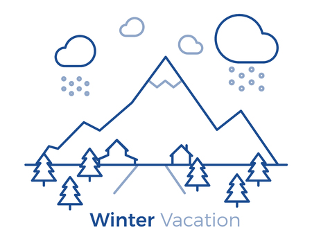 Winter vacation iconographic design. Vector illustration with mountains, trees, road, houses and snowy clouds