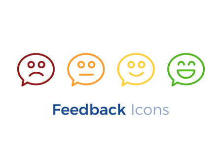 Speech bubbles with smiley faces expressing different levels of satisfaction. Feedback icon design. Vector illustration