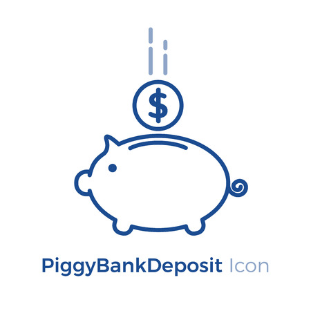 Vector icon design. Safety money investment depositPiggy Bank with falling coin.