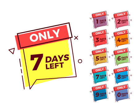 Vector geometric bubble shape tags on different colors with number of days left