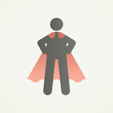 Stickman character figure with superhero pose and cape. Vector illustration for strength, leadership, success and willpower Illustration