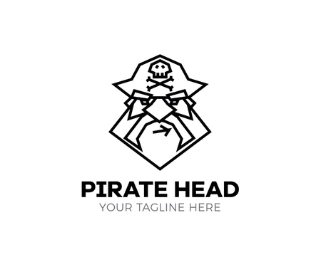Pirate head logo. Vector thin line icon of captain pirate.  イラスト・ベクター素材