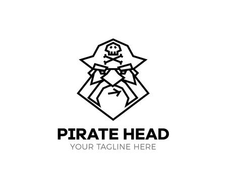 Piratenkopf-Logo. Dünne Linie Ikone des Vektors des Kapitänpiraten. Standard-Bild - 97503252