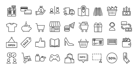 Icons related with commerce, shops, shopping malls,  and retail vector illustration thin line design set