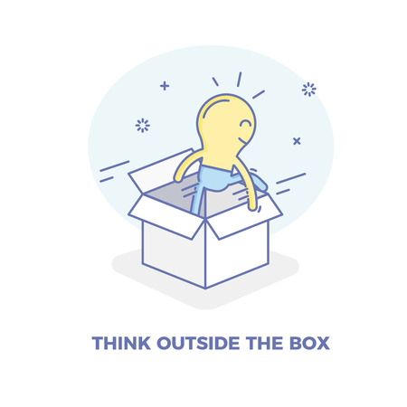 Lightbulb character getting out of the box. Vector concept illustration for Thinking outside the box concepts. Creativity, solutions, success and personal and professional innovation Illustration