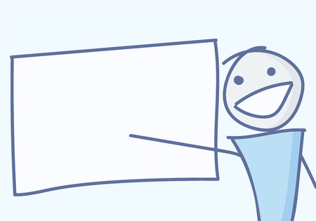 Stick figure pointing at empty board. Vector illustration for presentations of different concepts
