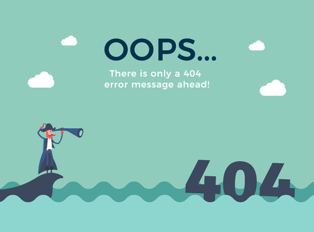 Flat line concept for page not found 404 error. Vector illustration background with a pirate sailing in the sea that just found a 404 error message with his telescope. Vettoriali