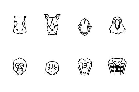 8 animal heads icons. Vector geometric illustrations of wild life animals. 向量圖像