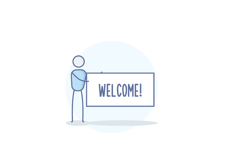 Cartoon stickman character holding a Welcome sign. Vector illustration design in eps10