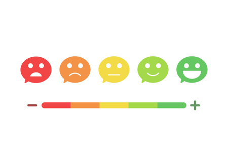 Speech bubbles with smiley faces expressing different levels of satisfaction. Feedback flat icon design. Vector background illustration