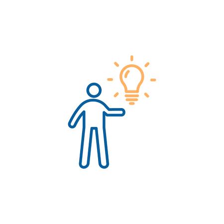 Personaje sosteniendo una bombilla. Diseño de ilustración de icono de línea delgada de moda de vector. Negocios, educación, ideas personales, inspiración, estrategias creativas.