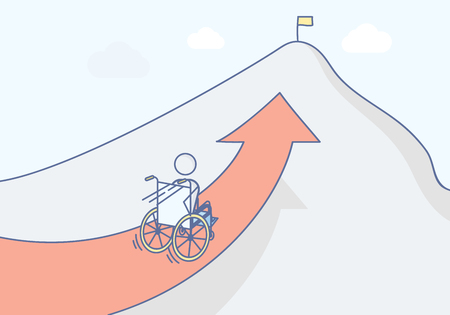Paraplegic with his wheelchair racing to the top of the mountain. Vector illustration for determination, strength, healthy lifestyle, motivation and persistence concepts.
