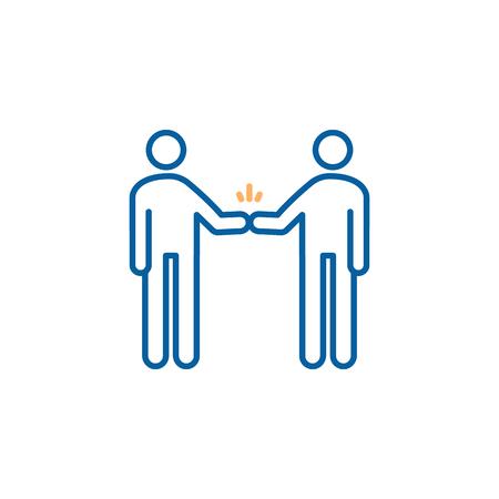 Characters shaking hand. Fist bump. Vector trendy thin line icon illustration design for teamwork, partnership, friendship, greetings, celebration. Illustration