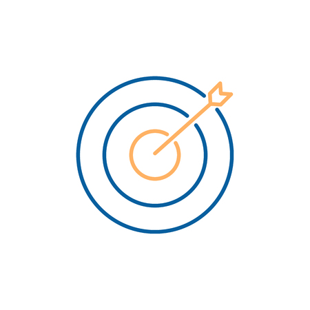 Aim target focus with arrow. Vector trendy thin line icon illustration design. Strategy, success, efficiency, business.