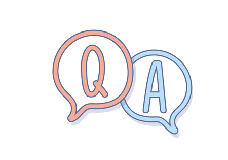 Main dessiner des questions et des réponses sur une bulle de discussion. Conception d'icônes de questions-réponses Vecteurs