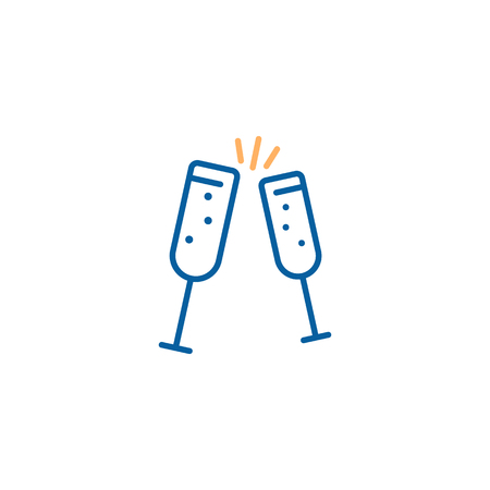 Champagne toast cheers icon. Vector party illustration design. Thin line icon trendy design Stok Fotoğraf - 102197237